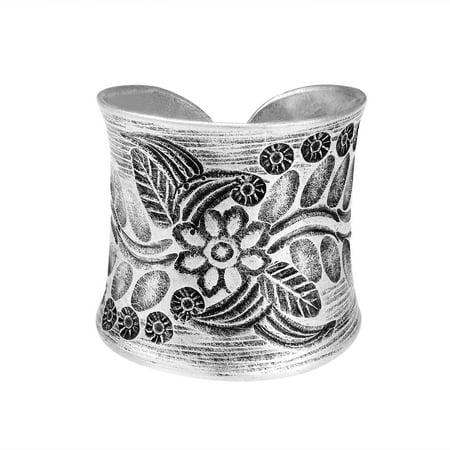 Tribal Flower Vine Thai Karen Hill Tribe Wrap Adjustable .95 Fine Silver Ring