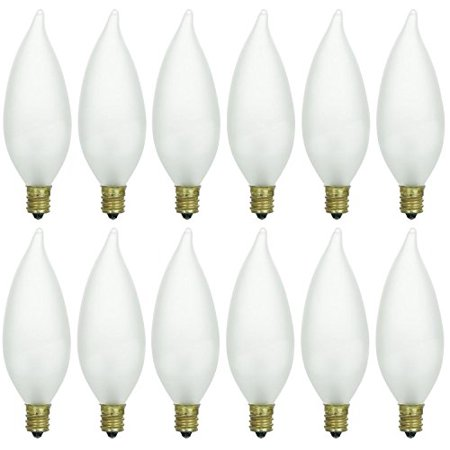 Watt Flame Tip Chandelier Bulb - Pack of 12 40 Watt CFF Candelabra Base Frosted Flame Tip Shaped Incandescent Chandelier Light Bulb