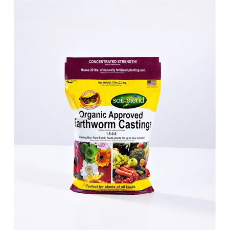 Soil Blend Worm Castings, Organic Fertilizer, Plant Food, 5 Lb. Bag Concentrated Strength (Makes 20 Lbs.) Non-GMO. Approved & Recommended by the AVA. Odorless. Bee & Butterfly Friendly. ()