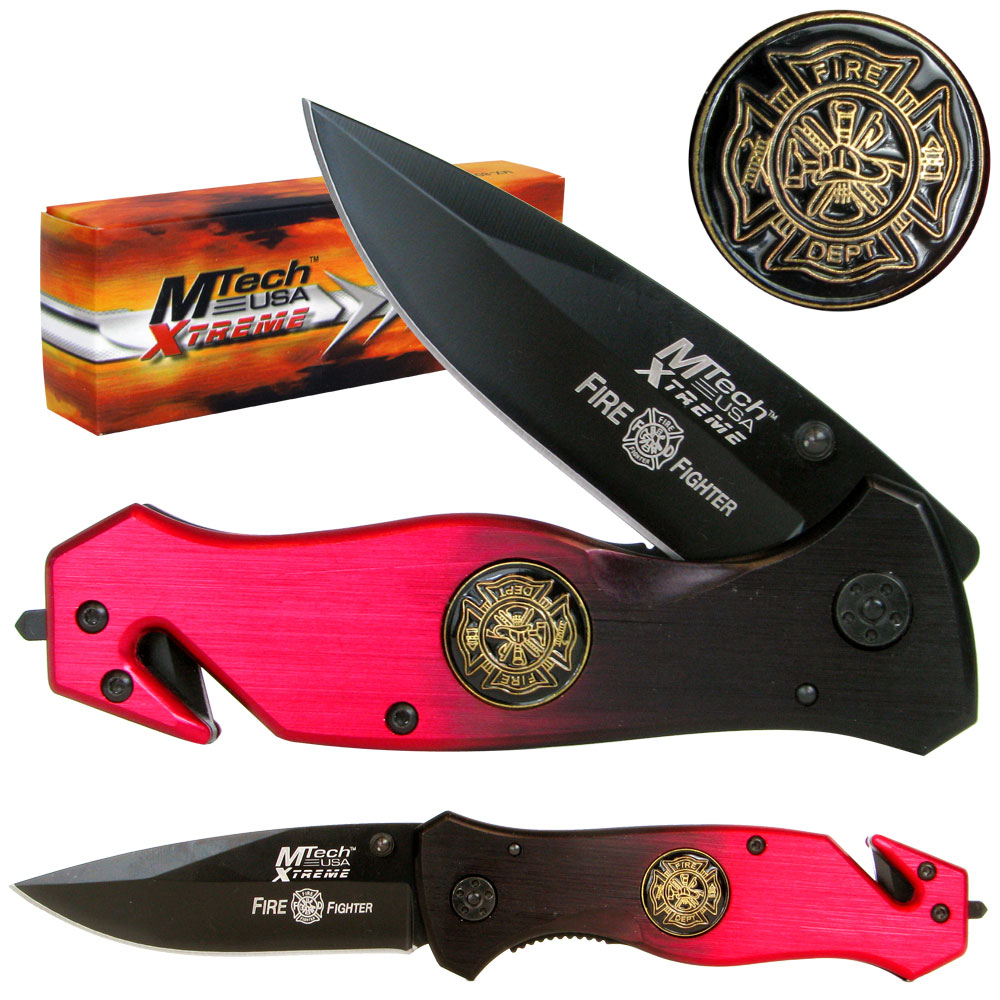 "8"" Xtreme Fire Fighter Tactical Folding Pocket Knife by Whetstone"