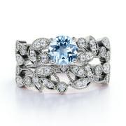 1.34 ct Vintage Round Aquamarine & Diamond Flower Wedding Ring Set in 10K White Gold