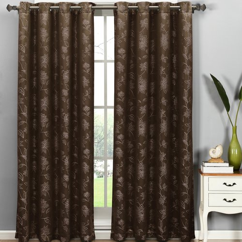 "Danica Faux Embroidered Jacquard Extra-Wide 54"" x 84"" Grommet Curtain Panel"