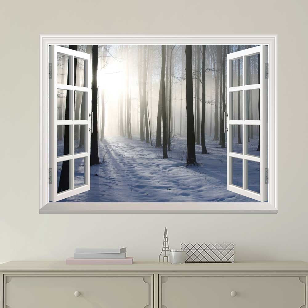 wall26 Modern White Window Looking Out Into a Snowed Forest with the Sun Peeking Through - Wall Mural, Removable Sticker, Home Decor - 36x48 inches