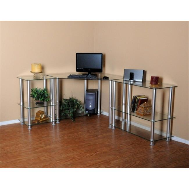 RTA Home and Office CT-013125 Clear Tempered Glass Corner Computer Desk with Right Extention table
