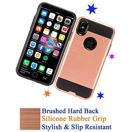 "for 5.8"" Apple iPhone 10 X case iphoneX Case Brushed Hard Back Phone Case Slip Resistant Hybrid Layers Slim Shock Bumper Cover Rose"
