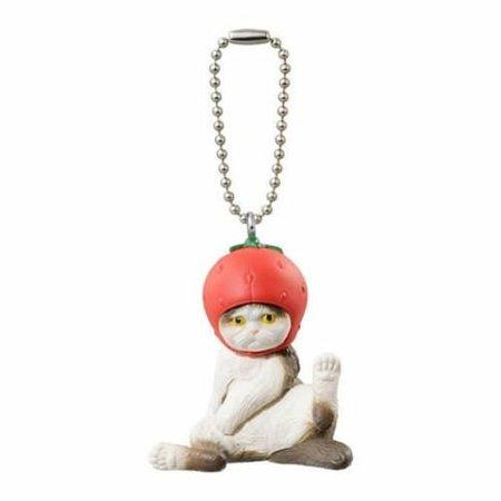 Buneko Anikora Sha Strawberry Hat Cat Capsule Keychain - image 1 of 1