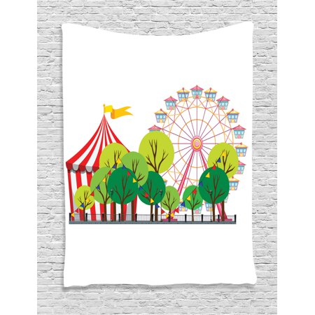 Circus Decor Wall Hanging Tapestry, Circus Carnival Scene With Ferris Wheel And Tree Images Cool Fun Park Artistic Show, Bedroom Living Room Dorm Accessories, By Ambesonne (Circus Decor)