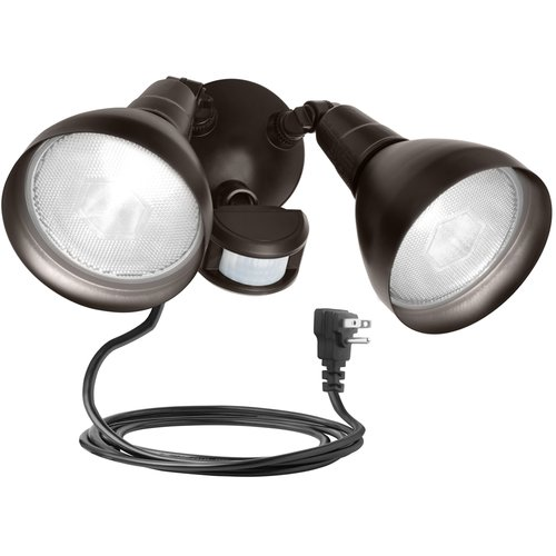 Brinks 180 Degree 2-Head Plug In Motion Activated Security Light, Bronze