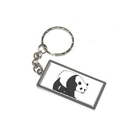 Panda Metal Rectangle Keychain](Panda Keychain)