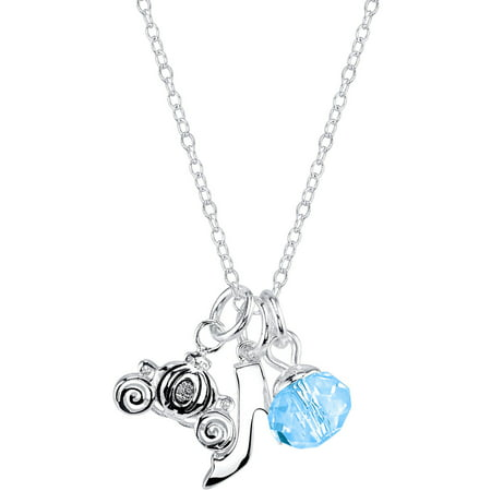 Disney 6mm Blue Crystal Silver-Tone Cinderella Slipper and Carriage Charm with Bead Necklace, 18""