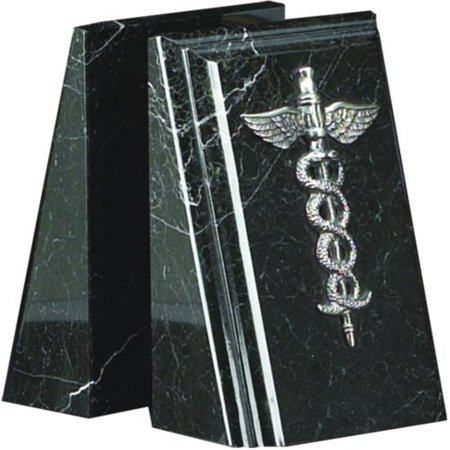 Black Marble Medical Caduceus (Marble Medical Bookends)