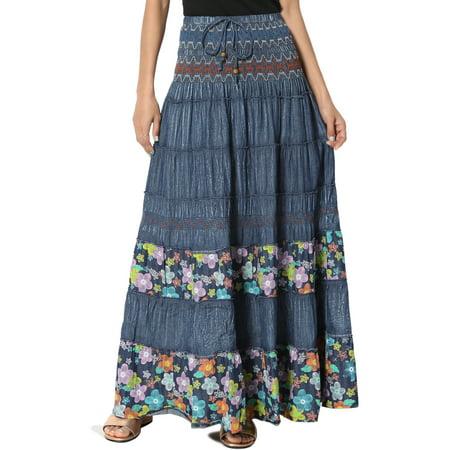 TheMogan Women's Floral Print Tiered Denim Flare A-Line Smocked Long Maxi (Next Denim Skirt)