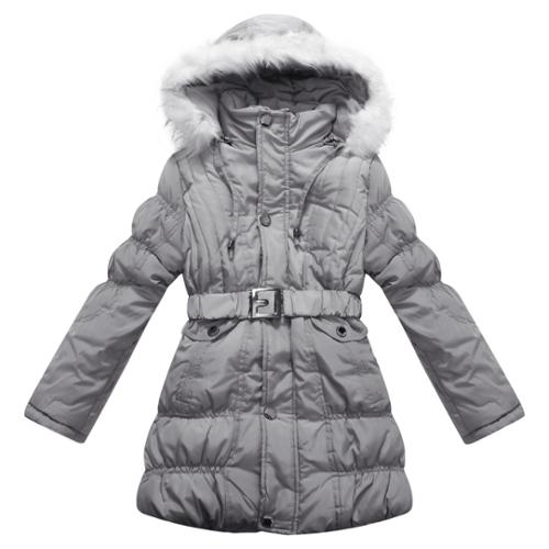 Richie House Girls' Padded Winter Jacket with Belt and Faux Fur Hood RH0784