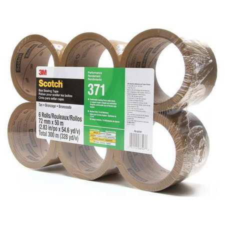 Carton Sealing Tape,50m L,72mm W,PK6 SCOTCH 371