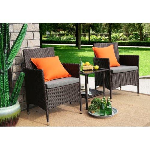 Baner Garden 3 Pieces Outdoor Furniture Complete Patio Wicker Rattan Conversation Set, Chocolate (Q16-CH) by Caesar Hardware