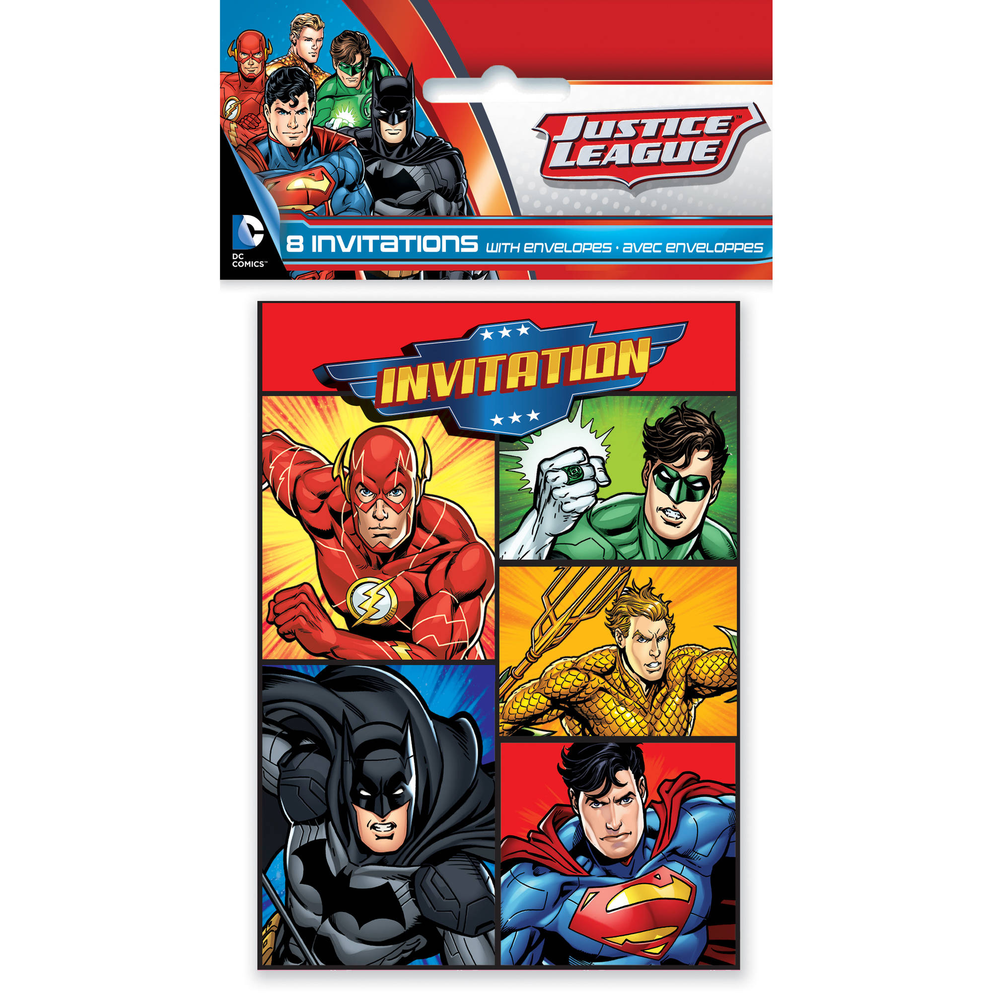 Justice League Invitations Free: Justice League Invitations, 8ct