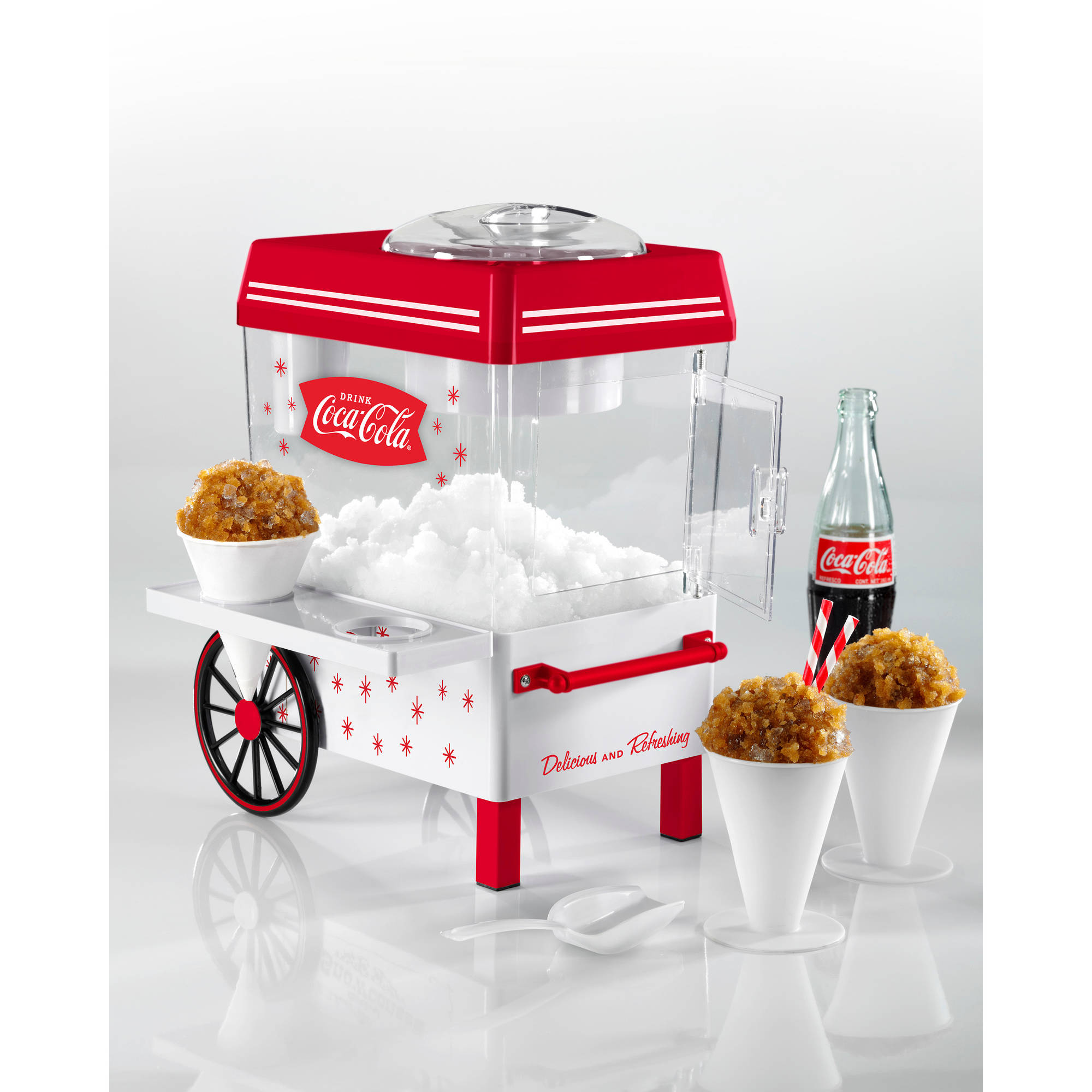 Nostalgia SCM550COKE Coca-Cola Snow Cone Maker and Shaved Ice Storage