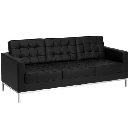 Contemporary Black Leather Sofa with Stainless Steel Frame - Walmart.com