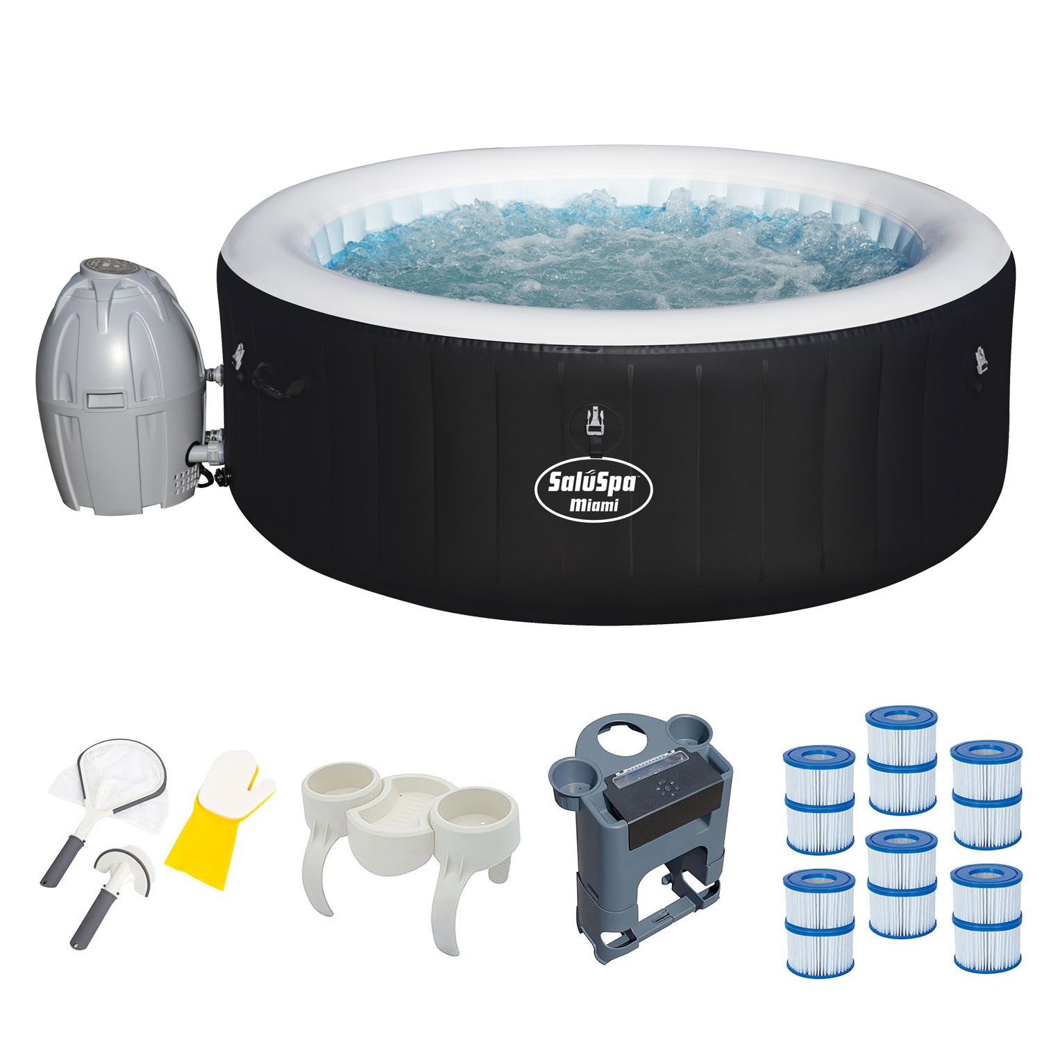 Bestway Inflatable Hot Tub + Entertainment Center + 6 Filters + Cleaning Set by Hot Tubs
