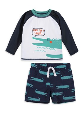 Gerber Baby Toddler Boy Rash Guard And Swim Trunks, 2Pc Set