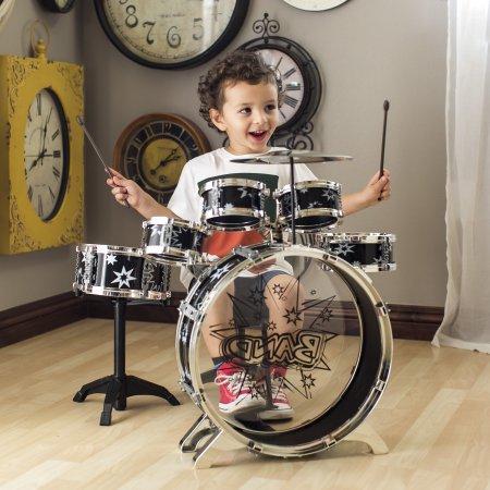 Best BCP 11-Piece Kids Starter Drum Set w/ Bass Drum, Tom Drums, Snare, Cymbal, Stool, Drumsticks - Black deal