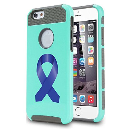 For Apple (iPhone 8) Shockproof Impact Hard Soft Case Cover Colon Cancer Color Awareness Ribbon - Teal Ribbon Awareness