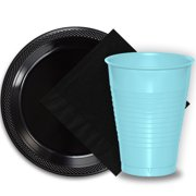 """50 Black Plastic Plates (9""""), 50 Light Blue Plastic Cups (12 oz.), and 50 Black Paper Napkins, Dazzelling Colored Disposable Party Supplies Tableware Set for Fifty Guests."""