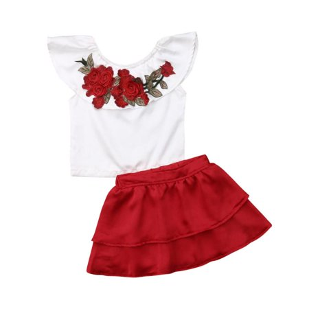 Toddler Kids Girls 2Pcs Summer Outfit Short Sleeve Flower Emboridery Top and Ruffle Red Skirt Clothing - Flower Short Set