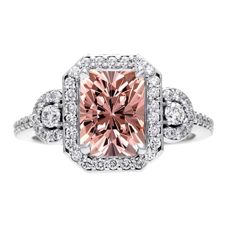 2 Carat Emerald Cut Real Morganite Halo Engagement Ring with 18k Gold (2 Carat Cushion Cut Pave Engagement Ring)