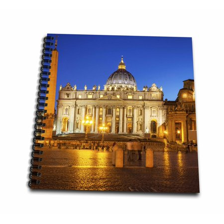Twilight Journals (3dRose Twilight at St. Peters Basilica, Vatican City, Rome, Italy. - Drawing Book, 8 by 8-inch)
