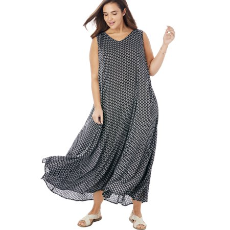 Woman Within Plus Size Petite Sleeveless V-neck Crinkle Dress