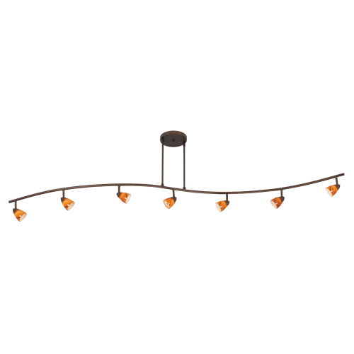 "Cal Lighting 954-77L-AMS Seven Light with Depth Serpentine Light with 60"" Wire with Amber Spot Shade by CAL Lighting"