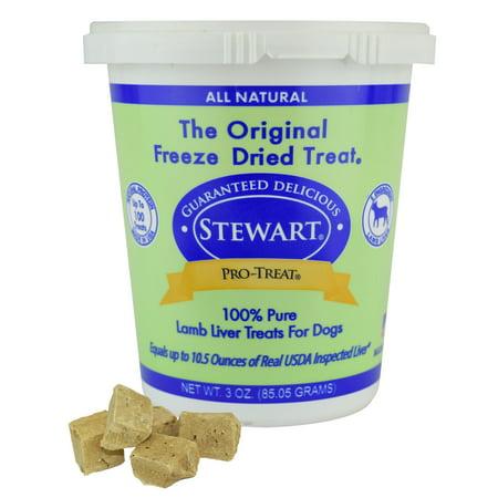 Stewart Freeze Dried Lamb Liver Dog Treats by Pro-Treat, 3 oz. Tub (Liver Treats)