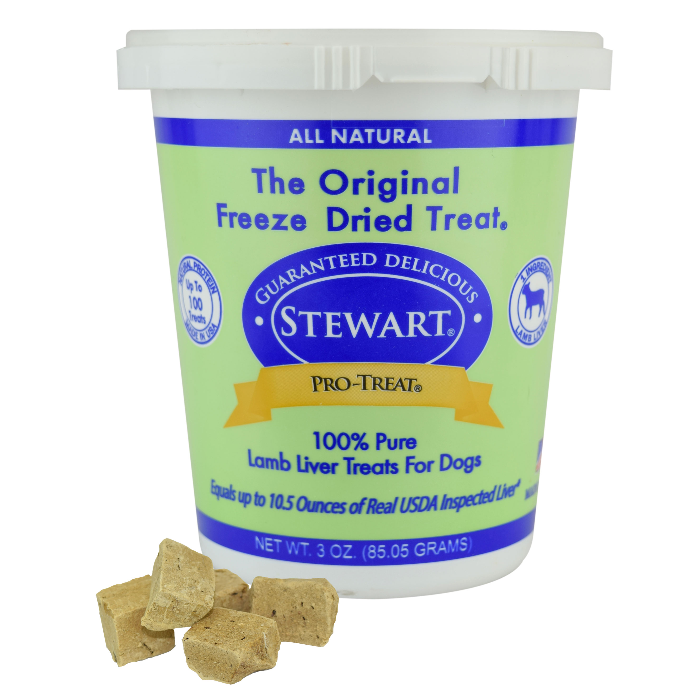 Stewart Freeze Dried Lamb Liver Dog Treats by Pro-Treat, 3 oz. Tub