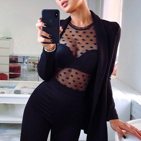 Sexy Women Polka Dot Transparent Mesh Sheer Crop Top T-Shirt Blouse Tee Tops Black -