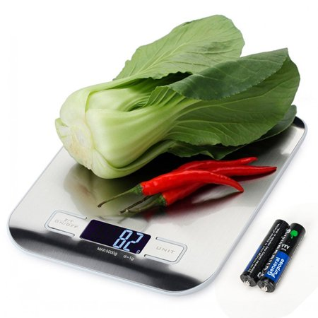 Food Kitchen Scale Multifunction Food Scale, 11 lb 5 kg, Silver, Stainless Steel (Batteries