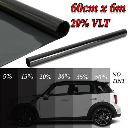 20 FT X 23.6 Inch 20% VLT Black Car Home Glass Window Tint Tinting Film Vinyl Roll - Non-Adhesive Glare Control Smoke Static Cling Window Film - Decorative Film