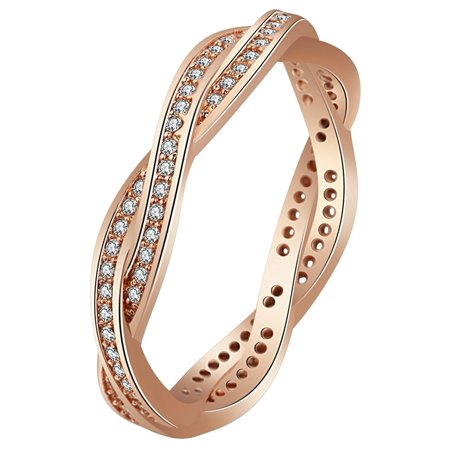 Lallie Rose Eternity Twisted Anniversary Wedding Band Ring- Ginger Lyne Collection