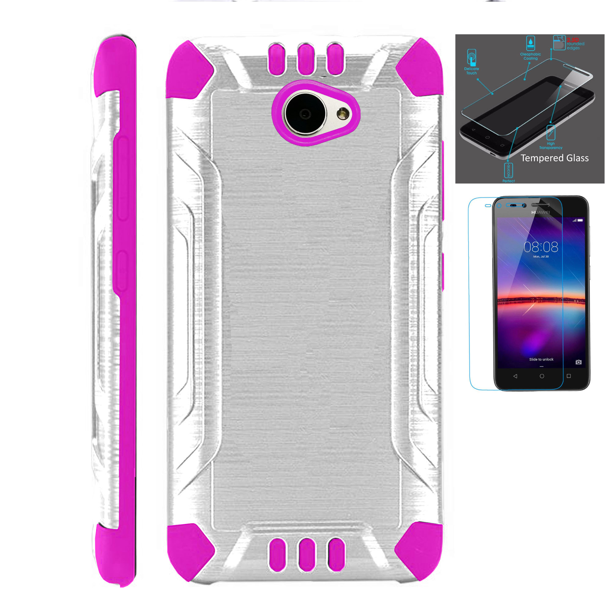 For Huawei Ascend XT2 / Huawei Ascend XT 2 / Huawei Elate 4G Case + Tempered Glass Slim Dual Layer Brushed Metal Texture Hybrid TPU Combat Phone Cover (Silver/Pink)