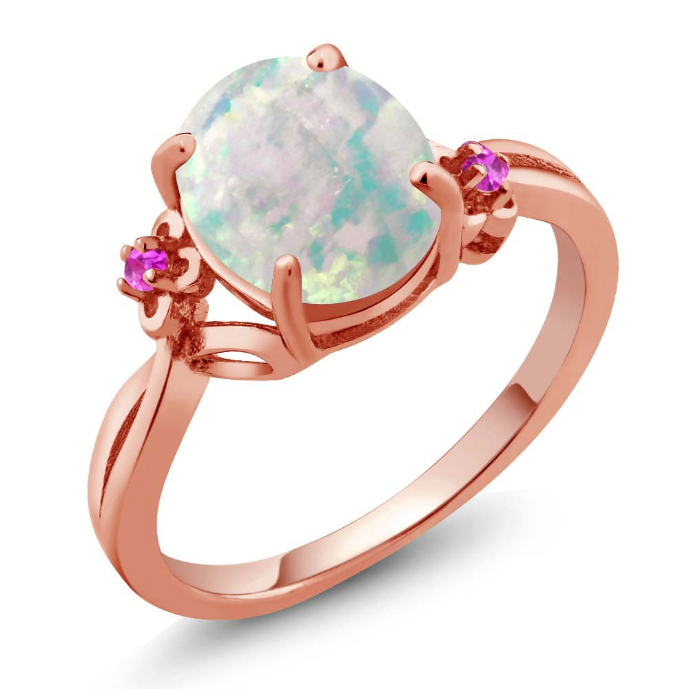 2.17 Ct Oval White Simulated Opal Sapphire Rose Gold Plated 925 Silver Ring