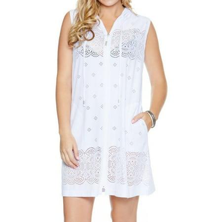 Zip Hoodie Dress - Women's Dotti 11022 Free Spirit Floral Zip Front Hoodie Dress Cover Up