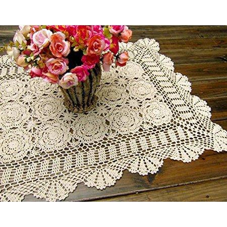 Handmade Crochet Lace Rectangle Lucky Flower Table Cloth