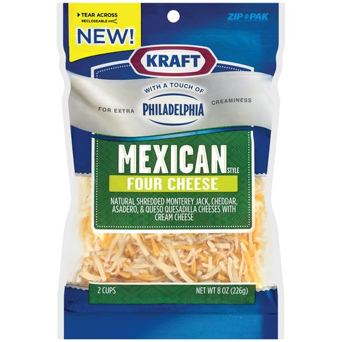 Kraft Natural Shredded Mexican Four Cheese With A Touch Of Philadelphia Cream Cheese, 8 oz