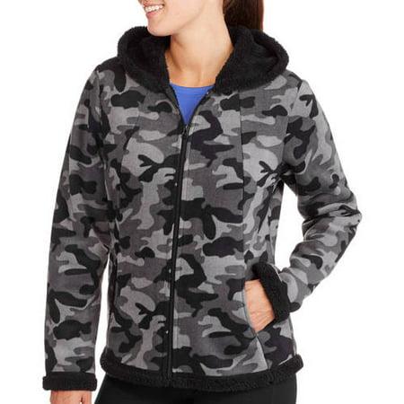 ba4c19457f4 Faded Glory - Women s Microfleece Hoodie with Cozy Sherpa Lining -  Walmart.com