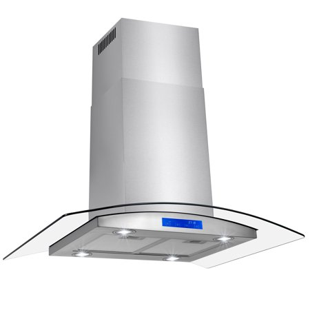 "36"" Stainless Steel Island Mount Range Hood with Tempered Glass Touch Panel Kitchen Cooking Fan"