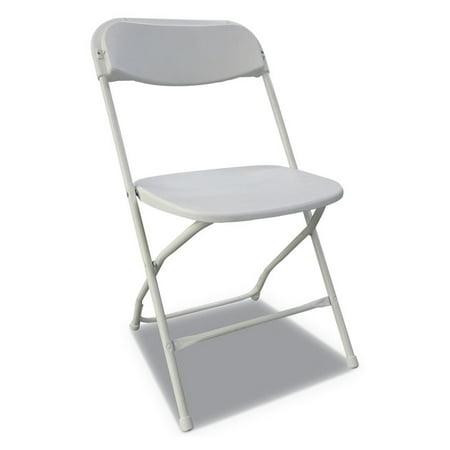 ECONOMY RESIN FOLDING CHAIR, WHITE SEAT/WHITE BACK, WHITE BASE, 4/CARTON ()