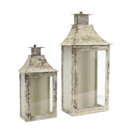 Set of 2 Cream and Brown Antique Wall Mounted Pillar Candle Lanterns (Cream Mount)