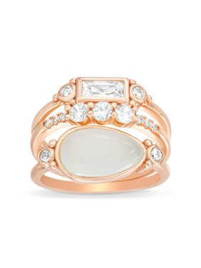 e4877fd9ad4f30 Product Image Lesa Michele Women's White Simulated Chalcedony and Cubic  Zirconia Baguette, Round and Oval Shaped Stackable
