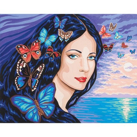 Collection D'Art Needlepoint Printed Tapestry Canvas, 60cm x 50cm, Portrait with - Butterfly Canvas