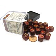 Chessex Glitter 12mm D6 Dice Block (36 Dice) -Ruby Red with Gold Numbers #27904